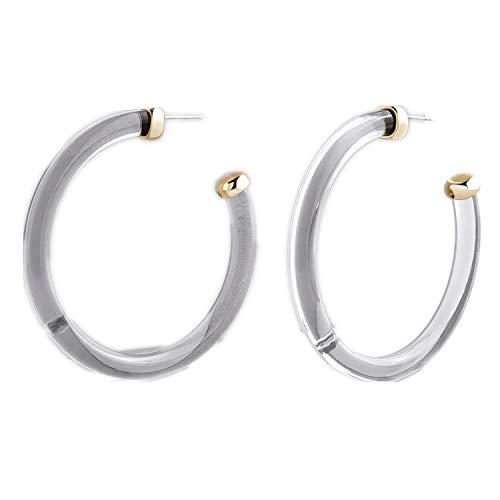 Resin Hoop Earrings, Resin Earrings, Grey Clear Acrylic Hoop Earrings for Women Girls