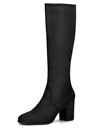 Allegra K Women's Side Zipper Chunky Heel Black Knee High Boots 5.5 M US