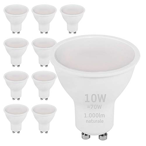 10x Lampadine LED GU10 10W Professionali Garanzia 5 anni Satinata Antiabbaglio (1000 lumen equivalenti a 70W) - Forma: Faretto - Luce Bianco Naturale 4000K - Fascio Luminoso 110°