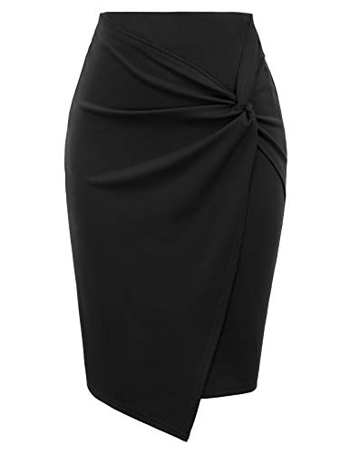 Kate Kasin Women's Solid Color Ruched Stretchy Hips-Wrapped Bodycon Pencil Skirt for Work Black, Large