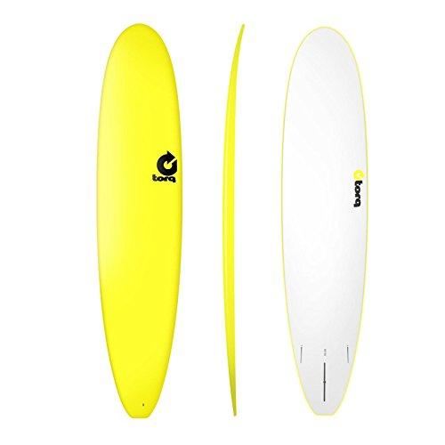 Malibu - Tabla de surf (9,0 pies), color amarillo Las tablas Torq tienen un suave revestimiento de espuma, aletas suaves y un barco de epoxi subacuático. Para surferos con 60-90 kg de peso corporal. Contenido: tabla con 3 aletas Amazon forma dqas Boa...