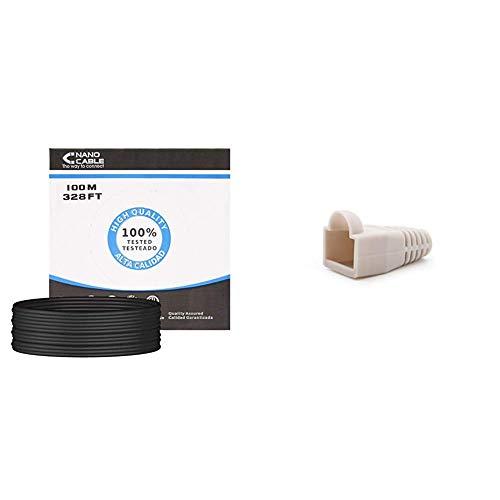 NanoCable 10.20.0502-EXT-BK - Cable de red Ethernet RJ45 CAT.6 UTP para exterior, color negro + 10.21.0301-OEM - Funda para conector de cable de red Ethernet RJ45, gris, bolsa de 10 unidades