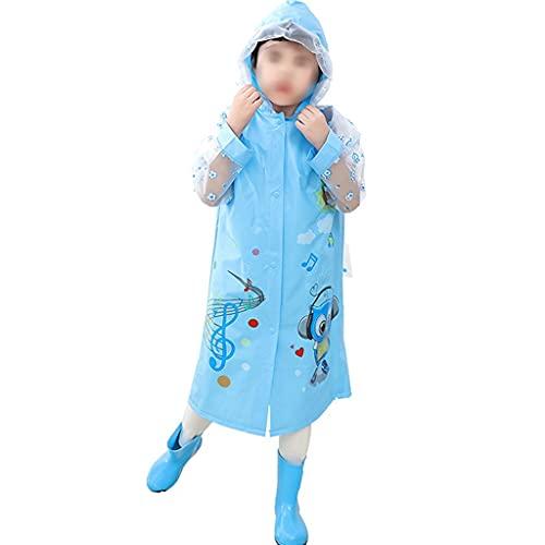 YQQMC Chubasquero para niños con capucha y diseño de ponchos de lluvia con funda para mochila escolar para niñas y niños (color: azul, tamaño: 3XL)