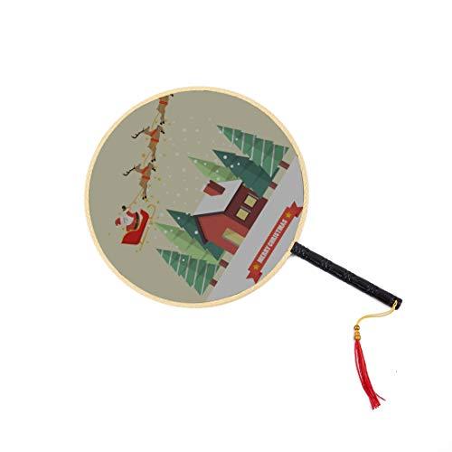 Weihnachtsmann im Schlitten fliegen in der Nacht chinesische alte Fan klassischen Palast Paddel Fan Tanz Fan Hand Fan für Kinder chinesische Hand Fan chinesische Fans für Frauen Hand Fans mit Griffen