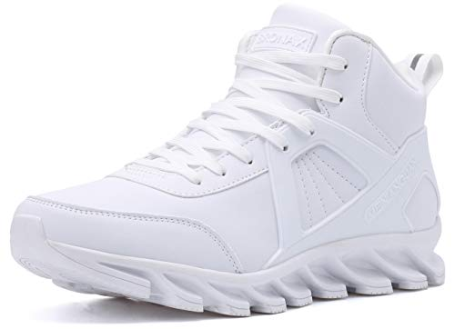 BRONAX Zapatillas Hombres Deporte Running Zapatos para Correr Gimnasio High Top Sneakers Deportivas Transpirables Casual Todo Blanco 46EU