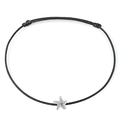 Selfmade Jewelry Anklet with Starfish Silver - Black Foot Chain Beach Jewelry Handmade Ankle Bracelet Adjustable Size