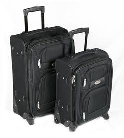 Sogo koffer Mal-SS-1690 koffer trolley zacht 20 en 24 inch 50 cm, 75 liter, zwart