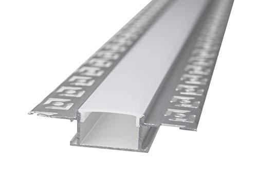 LineteckLED -LP3050- Barra in alluminio, Profilo in Alluminio LP3050 da 2mt Incasso a Scomparsa in Cartongesso per Doppia Striscia a Led Cover Opaca, binario canalina per striscia led (1 PEZZO)