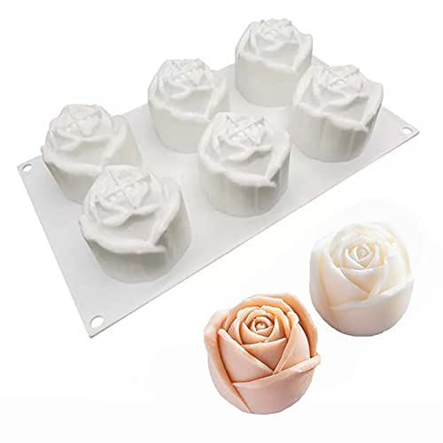 WOPODI 3D Rose Candle Mold, Silicone Baking Mousse Cake Flower Molds for Cake French Cupcake Dessert Homemade Soap Cupcake Pudding Jello Chocolate Fondant Bakeware Cake Decorating Tools (6 Cavity)