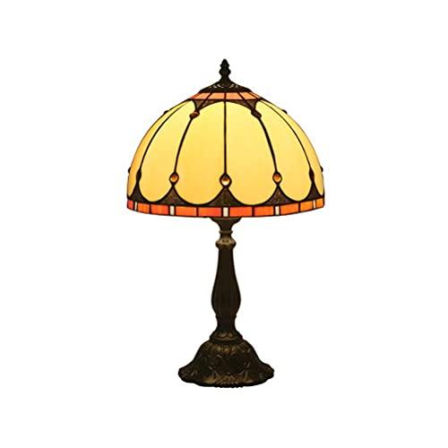 DIMPLEYA Lámpara de Mesa Tiffany Vintage, Lámparas de Mesa de Cristal de la Iglesia Antiguos Lámparas de mesita de Noche Original de 12 Pulgadas E27 Lámpara de Mesa para Dormitorio
