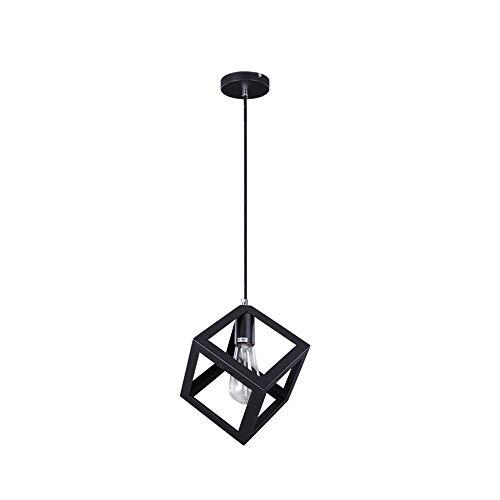 Vetrineinrete® Lampadario da soffitto pendente a sospensione a forma di cubo 3d stile geometrico portalampada e27 (Nero)