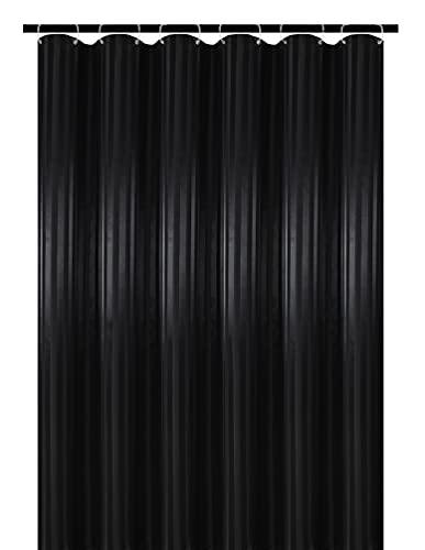 Biscaynebay Fabric Shower Curtains or Liners 72 Inch by 72 Inch, Black Water Repellent Damask Stripes Bathroom Curtains Machine Washable Rust Resistant Grommets & Weighted Bottom with 12 Hooks