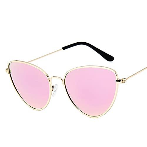 Moda Gafas De Sol Pequeñas Y Sexis De Ojo De Gato Vintage para Mujer, Gafas De Sol Rojas Y Negras Vintage para Mujer, Gafas De Sol para Mujer, Gafas Retro 04-Gold-Pink
