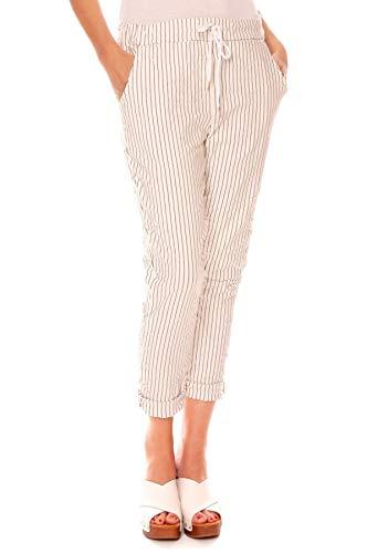 Easy Young Fashion Damen Hose Joggpants Baumwolle Gestreift Stretch Stoffhose Jogger Pants 7/8 Lang mit Streifen Muster Weiß-Grau One Size