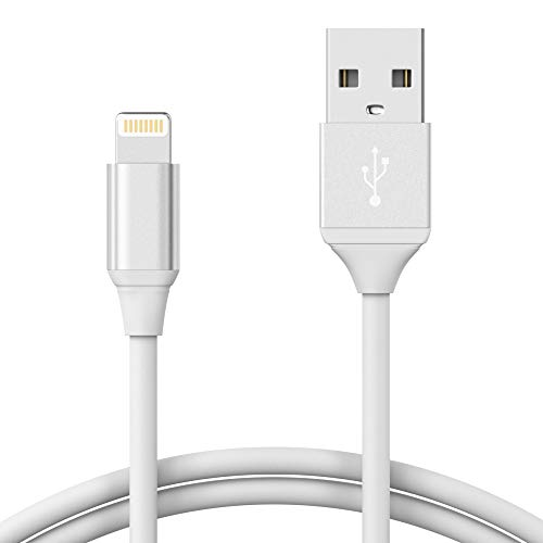 TalkWorks iPhone Charger Lightning Cable 4ft Short Strain Relief Heavy Duty Cord MFI Certified for Apple iPhone 12, 12 Pro/Max, 12 Mini, 11, 11 Pro/Max, XR, XS/Max, X, 8, 7, 6, 5, SE, iPad - White