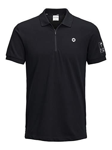 JACK & JONES - Übergröße/Plussize - Herren Polo Shirt - 5XL 6XL 7XL 8XL - schwarz - JORKAISER Größe 7XL