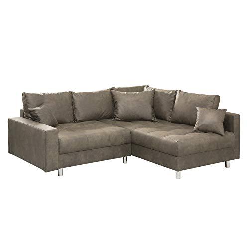 riess-ambiente.de Moderne Wohnlandschaft Kent 220cm Taupe Ecksofa Federkern inkl. Hocker und Kissen Sofa Couch Eckcouch