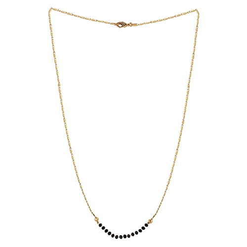 Radhna Indian Bollywood Traditional Jewellery Traditional Gold Plated Mangalsutra Tanmaniya Necklace Pendant With Golden Chain for Women and Girl's