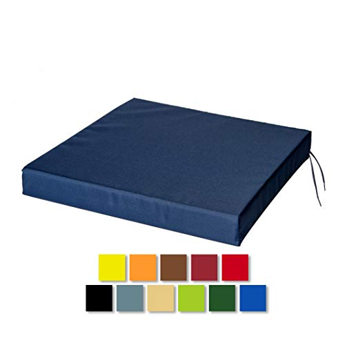 STYLE4HOME Waterproof Chair Cushions With Ties Seat Pads Cushion Pad Indoors Outdoors Water Resistant Material Kitchen Dining Living Room Patio Garden Office Coffee Shop Foam Dark Blue