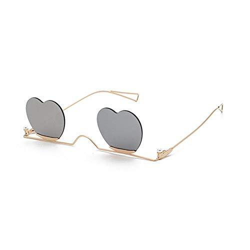 OcchialidaSoledaUomo Moda Occhiali da Sole Senza Montatura A Forma di Cuore Occhiali da Sole da Donna con Montatura in Metallo Accessori Femminili Gradiente di Colore Caramella C5 Oro-Argento