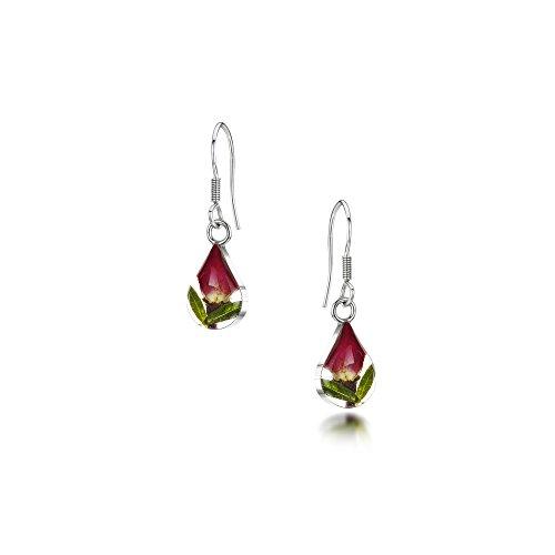 Orecchini a goccia con fiore vero in argento Sterling,bocciolo di rosa a forma di lacrima, scatola inclusa e Argento, colore: red, cod. RE01