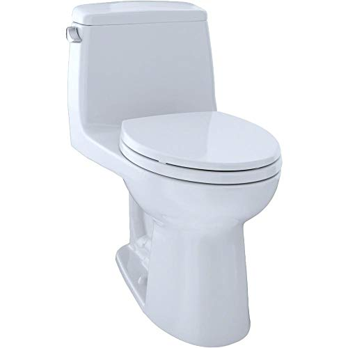 """TOTO MS854114ELG#01 Eco Ultramax ADA Elongated One-Piece Toilet with Sanagloss, Cotton White, 16.62"""" x 28.18"""" x 29.12"""""""
