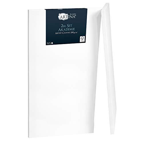 Artina Akademie 2er Set 70x100cm Leinwand aus 100% Baumwolle auf stabilem FSC® Keilrahmen 2-Fach weiß vorgrundierte Leinwand zum Bemalen 280 g/m²
