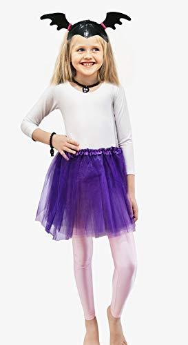 Disfraz Vampirina para Nia, Accesorios Leggings Rosa, Falda Tut Morado, Tocado, Pulsera y Collar de Calavera (4 aos/leggings)