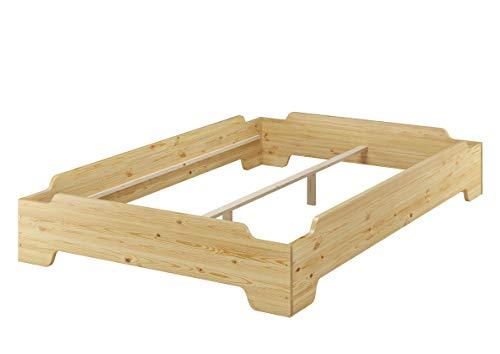 Erst-Holz® Stapelbett 120x200 großes Gästebett mit wählbarem Zubehör V-60.56-12, Ausstattung:Rollrost inkl.
