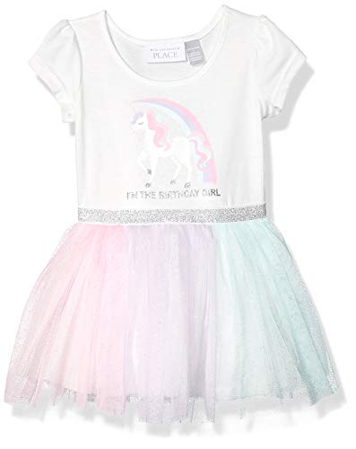 The Children's Place Baby Girls Short Sleeve Tutu Dress, Simplywht, 18-24MONTH