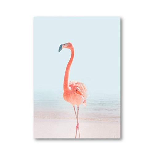 kaxiou Flamingo Beach Pink Canvas Poster Tiere Prints Nursery Wall Art Picture Coral Ocean Minimalistische Wandfarbe Mädchen Room Dekor-50 x 70 cm ohne Rahmen