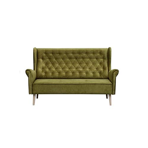 MOEBLO Ohrensofa 2 Sitzer Sofa Couch Garnitur Stoff Samt (Velour) Glamour Wohnlandschaft Chesterfield - Velo (Grün, 2-Sitzer)