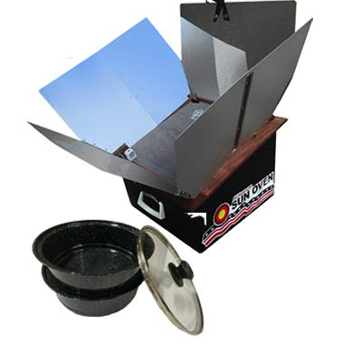 Premium Bundle- All American Sun Oven- The Ultimate Solar Appliance w/ EasyStack Pots, Interchangeable Enamel andGlass Lids