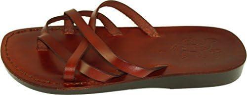 Holy Land Market Unisex Leather Biblical Flip Flops (Jesus - Yashua) Jerusalem Style I