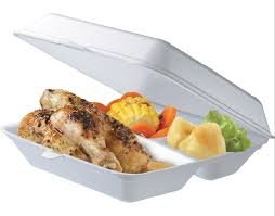 150-PACK 3 Compartment WHITE Foam Hinged Dinner Container 9-inch x 9-inch x 3-inch