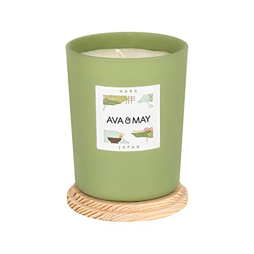 AVA & MAY Nara Duftkerze (180g) – vegane Kerze im Glas mit zitronig-frischen Düften von Bergamotte, grünem Tee und Kardamom – Handgemachte Kerze mit Warmer Atmosphäre