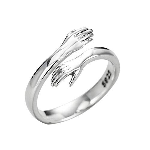 Meigold Mode paar Ring öffnen Einstellbar Fing erring Liebes Umarmung Ring Schmuck Geschenk , Hände umarmen, die die Herzen mischen,Erschaffe die ultimative romantische Liebe,1 pcs (Silber)