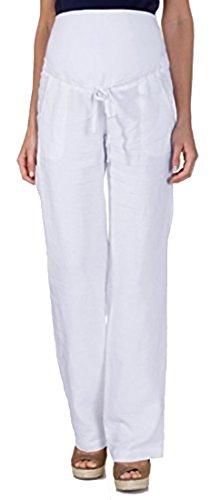 NITIS Schwangerschaftshose Umstandshose Damen Hose Pants (S (Herstellergröße: 36/32), Elfenbein)