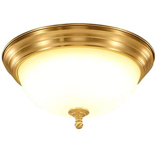 Plafón de alto rendimiento Lámpara de techo Luz de techo de cobre-completa, cubierta de la lámpara de cristal Pastoral, Sala de Estudio Cocina y Aseo de entrada de luz de techo, Tamaño: 39 X17cm