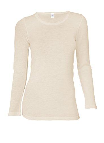 Dilling Merino Langarmshirt für Damen - Extra Feine Unterwäsche aus 100% Bio Merinowolle Natur 36