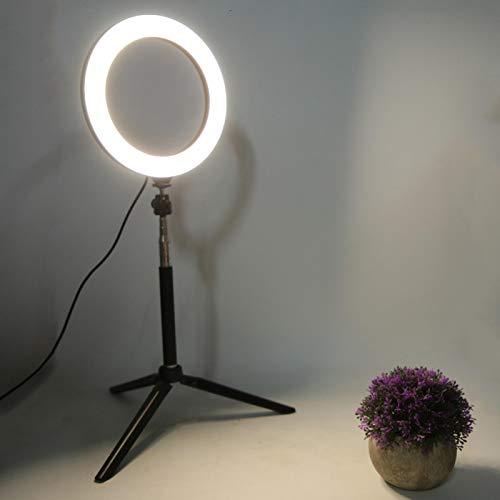 Anillo de luz LED de 7.87 Pulgadas, Luces LED Circulares, Belleza y fotografía en Vivo para computadora portátil, Banco de energía, Cargador USB, Adaptador de CA