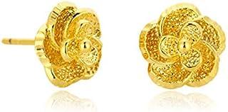 A pair of 23K gold earrings for Women'sgolden flower earrings