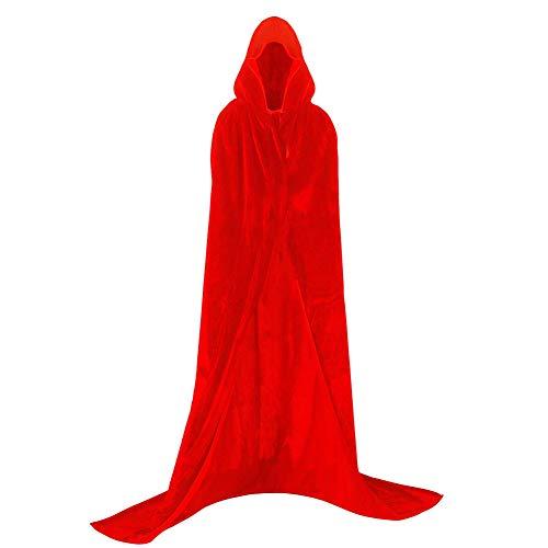 Larga Capa de Vampiro Diablo de Terciopelo con Capucha para Disfraz de Fiesta Halloween y Carnaval,Talla Unica,para Adulto Mujeres Hombres (roja)