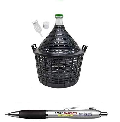 Beste Angebote Weinballon 20L mit Korb +Gärröhrchen +Gummistopfen Glasballon Gäreimer Gärballon