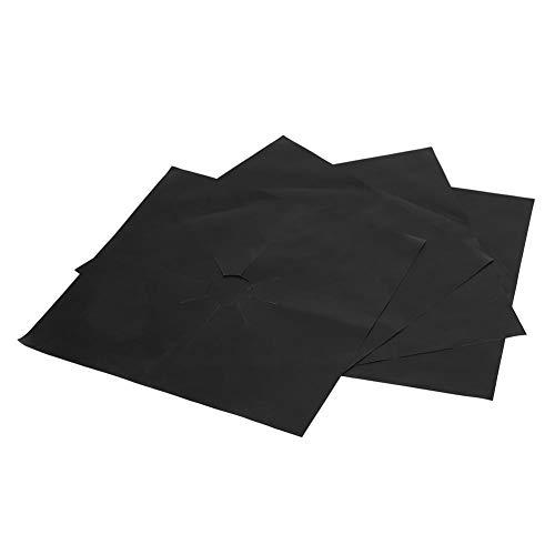 Protezioni per la Gamma del Gas Fodere per Piano Cottura a Gas riutilizzabili Fornello Antiaderente Coperture per bruciatori per Piano Cottura Pad per tappeti puliti 4PCS(Black)