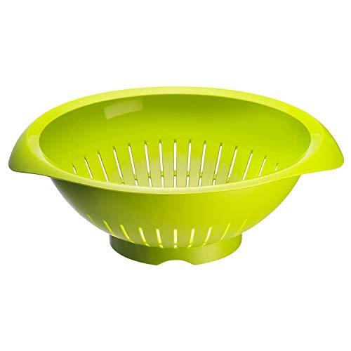 Westmark Seiher/Sieb, mit Griffmulden, Innendruchmesser: 25 cm, Kunststoff, BPA-frei, Farbe: Grün, 2424227A