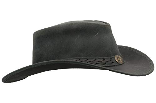 Walker and Hawkes - Leather Cowhide Outback Antique Hat - Black - 2XL (61cm)