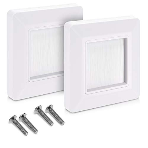 Blanco 49mm x 49mm interior VCE 6 Unidades Placa de pared con cepillos pasacables pared,Embellecedor para la entrada y salida de cables