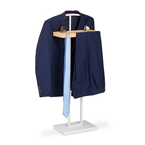 Relaxdays Houten dressoir, met houten plank, vrijstaand, kreukvrije pak, MDF & metaal, HBT 102 x 46 x 24 cm, wit, 1 stuks