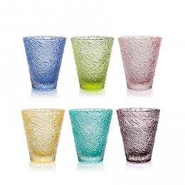 6 bicchieri in vetro colorato - altezza cm.10,5 -cl.30 -